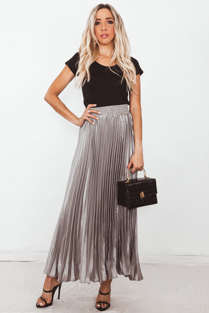 Metallic Pleated Maxi Skirt - Silver