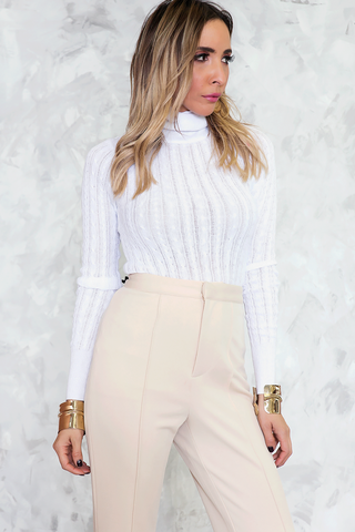 DRIPPING CHANEL LONG SLEEVE TOP - White