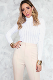 Ribbed Knit Turtleneck - White