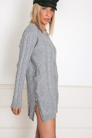 Cable Knit Sweater - Grey