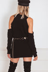 Sweater with Shoulder Cutouts - Black