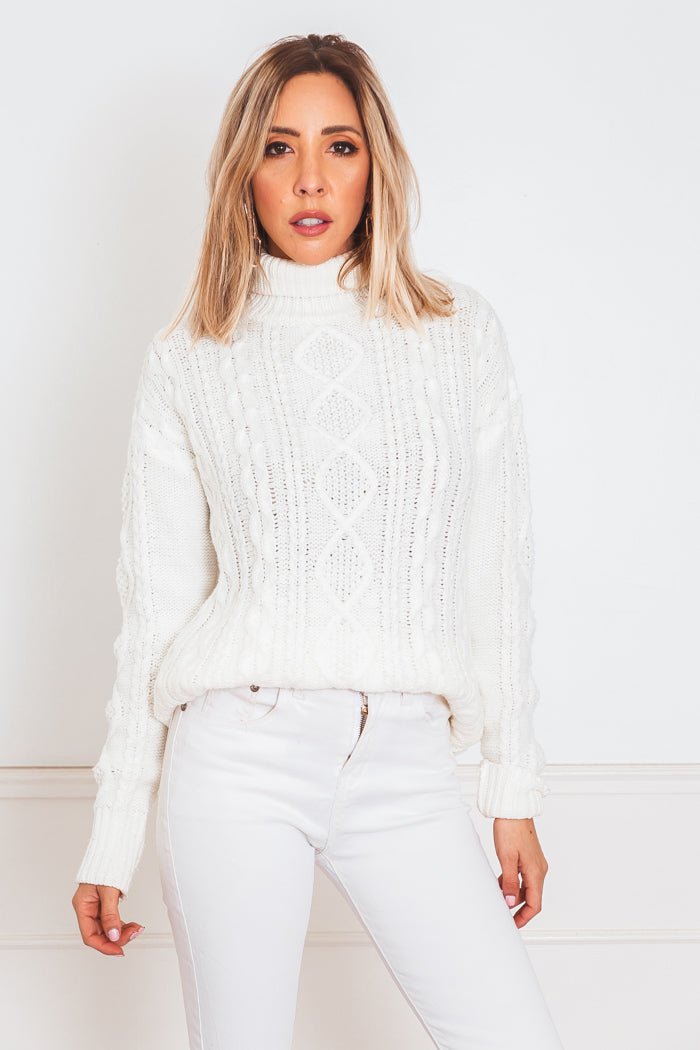 Cableknit Turtleneck Sweater - White