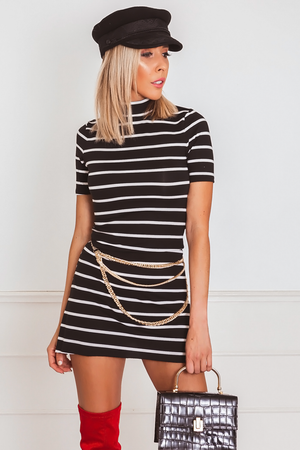 Mock Neck Striped Mini Dress