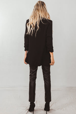 Faux Leather Pants With Contrast Binding