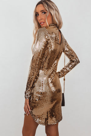 Liquid Metal Sequin Mini Dress - Gold