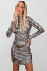 Liquid Metal Sequin Mini Dress - Silver