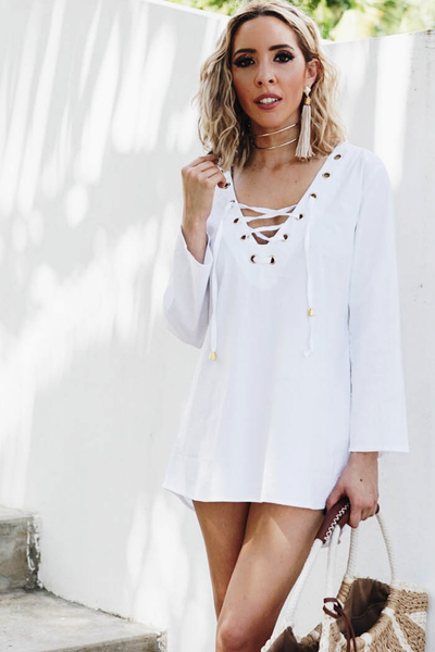 Lace-Up Beach Tunic - White /// ONLY 1-M LEFT///