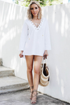 Lace-Up Beach Tunic - White /// ONLY 1-M LEFT/// - Haute & Rebellious