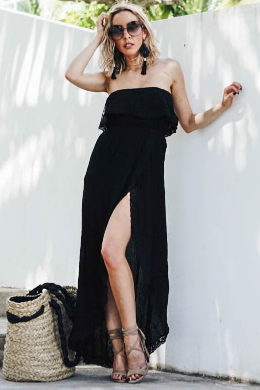 High-Slit Tube Sun Maxi - Black - Haute & Rebellious