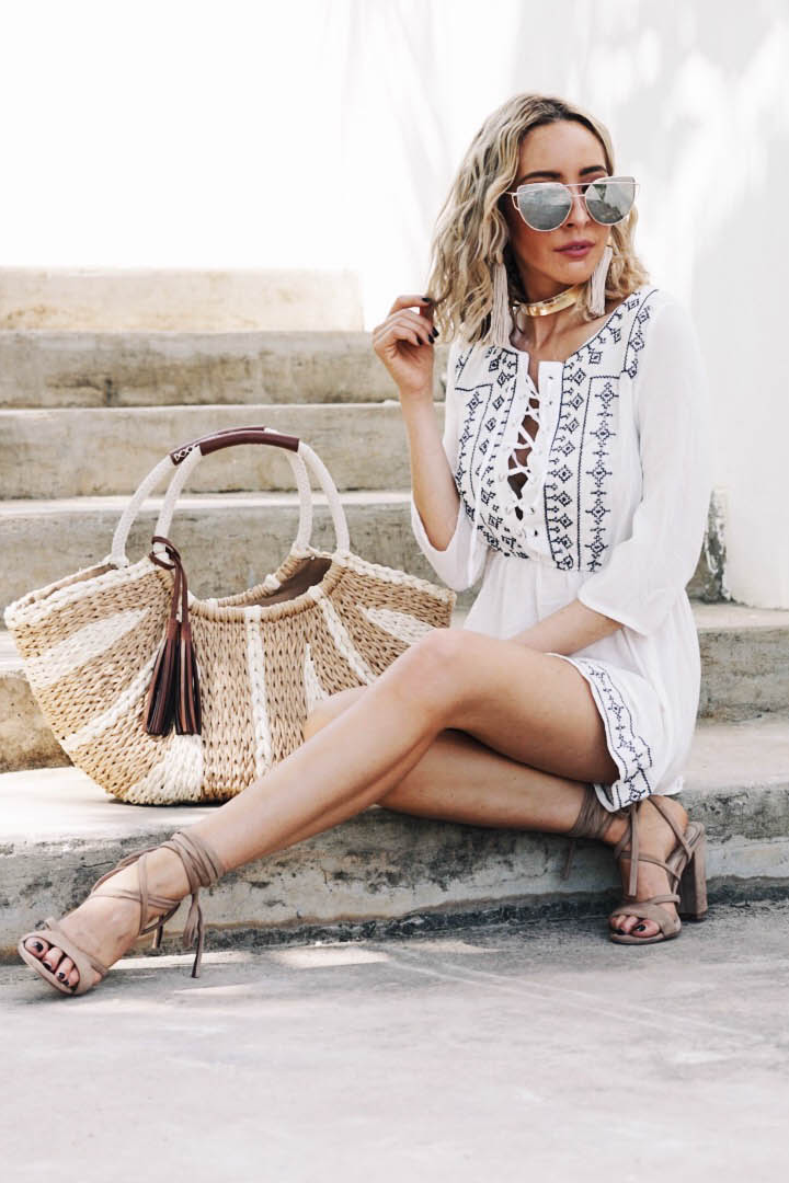 Embroidery Lace-Up Sun Dress
