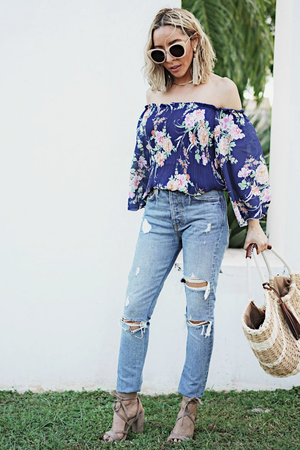 Floral Off-Shoulder Pleated Top - Haute & Rebellious