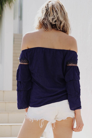 Off-Shoulder Tribal Embroidery Top - Navy /// ONLY 1-M LEFT/// - Haute & Rebellious