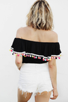 Pom-Pom Off-Shoulder Top - Black /// ONLY 1-M LEFT/// - Haute & Rebellious