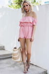 Off-Shoulder Ruffle Romper - Red - Haute & Rebellious