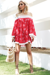 Off-Shoulder Crochet Trim Dress - Red - Haute & Rebellious