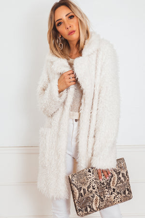 Textured Fur Coat - Off White