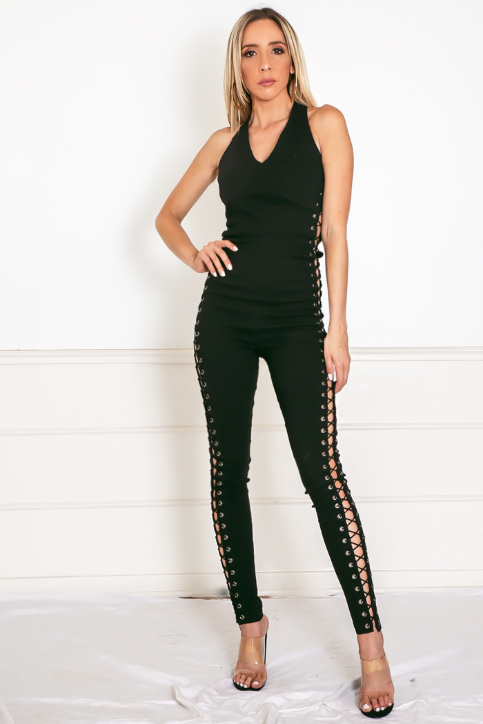Side Lace-Up Jumpsuit - Black