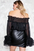 Off-Shoulder Top with Ruffles - Black