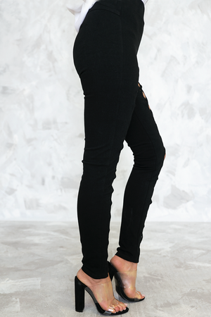 Lace-Up Cutout Pants - Black - Haute & Rebellious