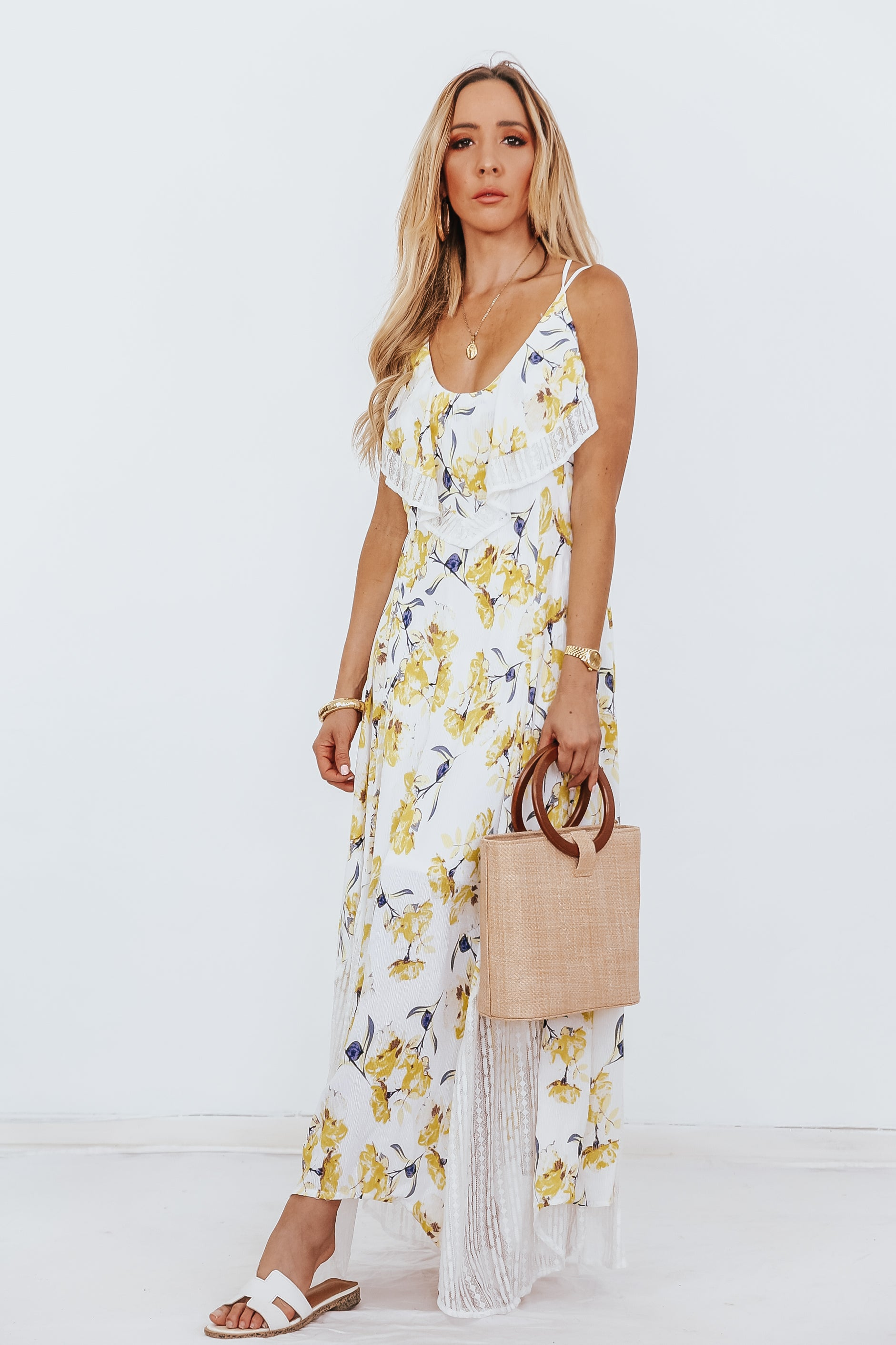 Floral Ruffles Maxi Dress with Lace Detail