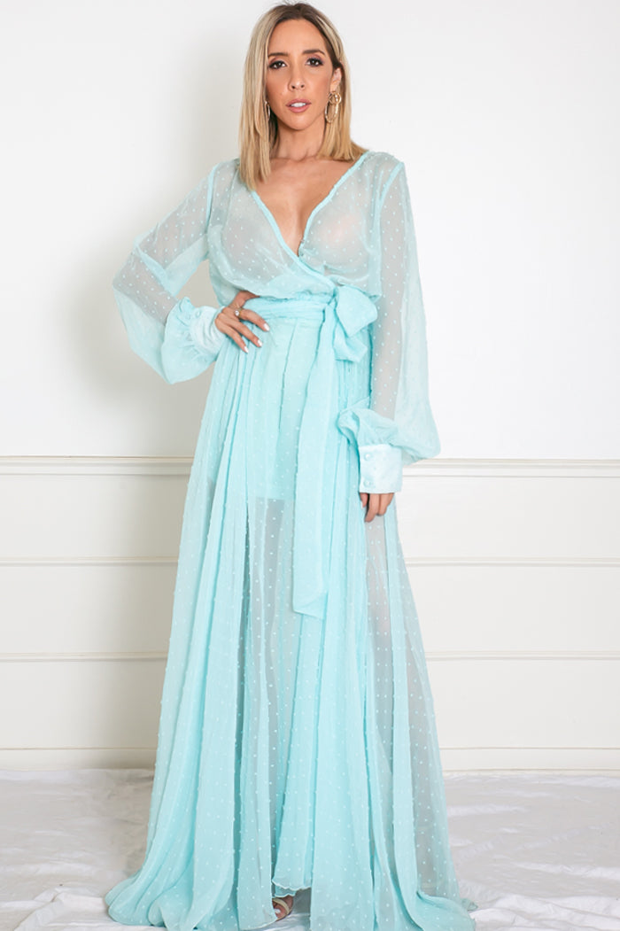 Sheer Maxi Dress with Tie Waist