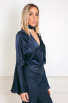 Satin Deep-V Satin Blouse with Bell Sleeves