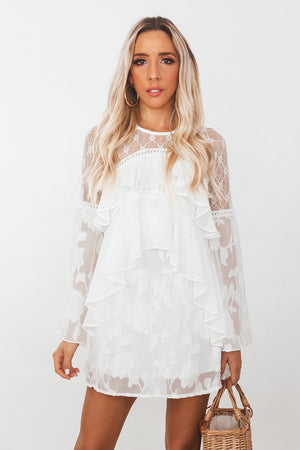 Ruffle Embroidery Lace Mini Dress - White
