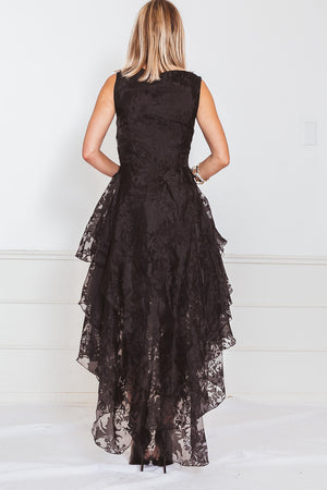 High-Low Lace Ruffle Dress