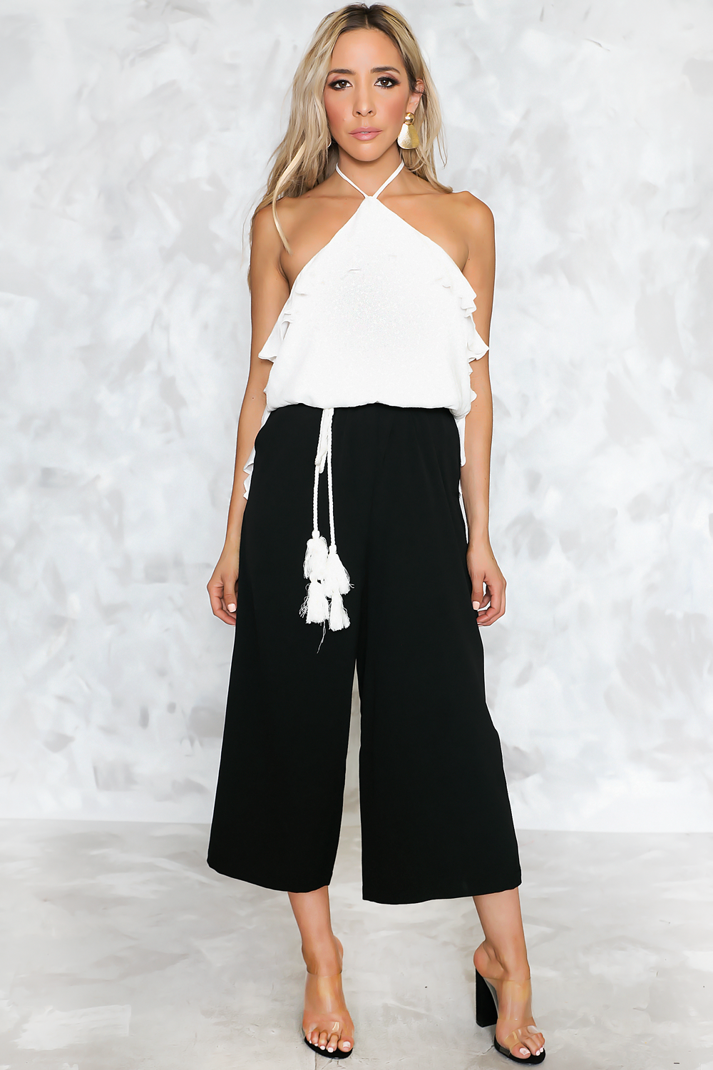 Two Stories Ruffle Crop Jumpsuit - Haute & Rebellious