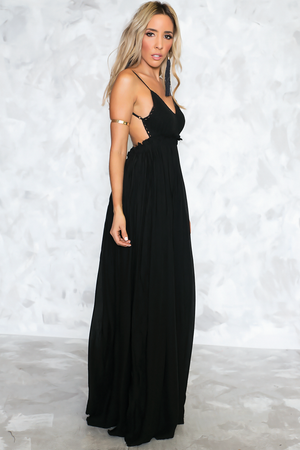 Calina Crochet Woven Maxi Dress - Black - Haute & Rebellious