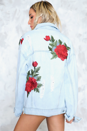 Just Us Rose Patch Denim Jacket - Haute & Rebellious