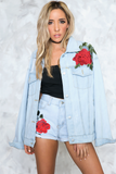 Just Us Rose Patch Denim Shorts - Haute & Rebellious