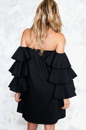 Talk About It Tiered Sleeve Dress - Black - Haute & Rebellious