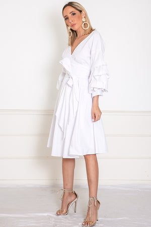 Wrap Mini Dress with Tie Waist - White