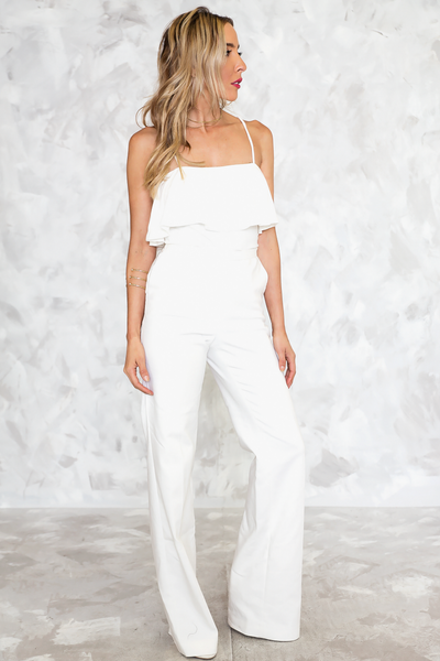Can't Hide Ruffle Off-Shoulder Tee - White - Haute & Rebellious