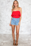 Can't Hide Ruffle Off-Shoulder Tee - Red - Haute & Rebellious