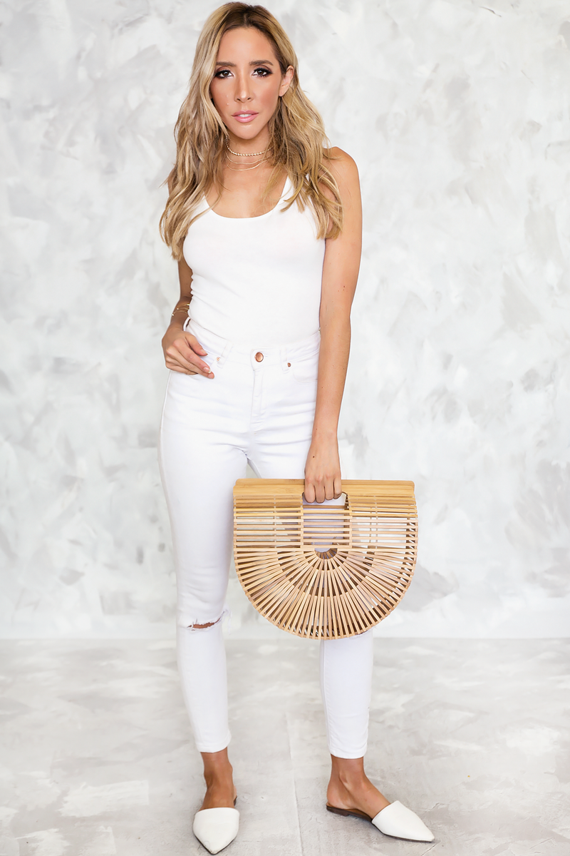 On You Tank Bodysuit Tee - White - Haute & Rebellious