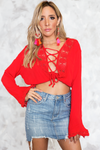 Bring Sun Bell-Sleeve Lace-Up Top /// Only 1-S Left /// - Haute & Rebellious