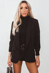 Shawl Collar Blazer with Ruched Sleeve - Black
