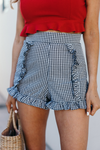 Best Friends Gingham Ruffle Shorts - Haute & Rebellious