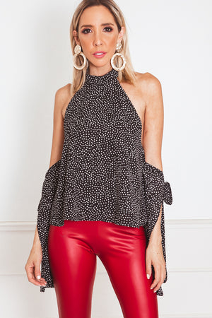 Polka-Dot Top with Cutout Shoulder