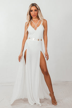 Double-Slit Maxi Dress with Straps - White