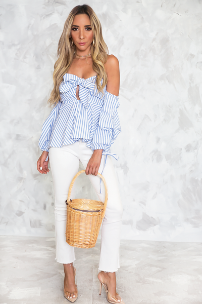 Knot-Tie Puff Sleeve Striped Top - Haute & Rebellious