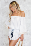 Pom-Pom Striped Tie Romper - Haute & Rebellious