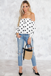 Say Yes Off-Shoulder Polka Dot Top - Haute & Rebellious