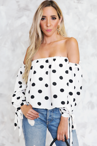 Say Yes Off-Shoulder Polka Dot Top