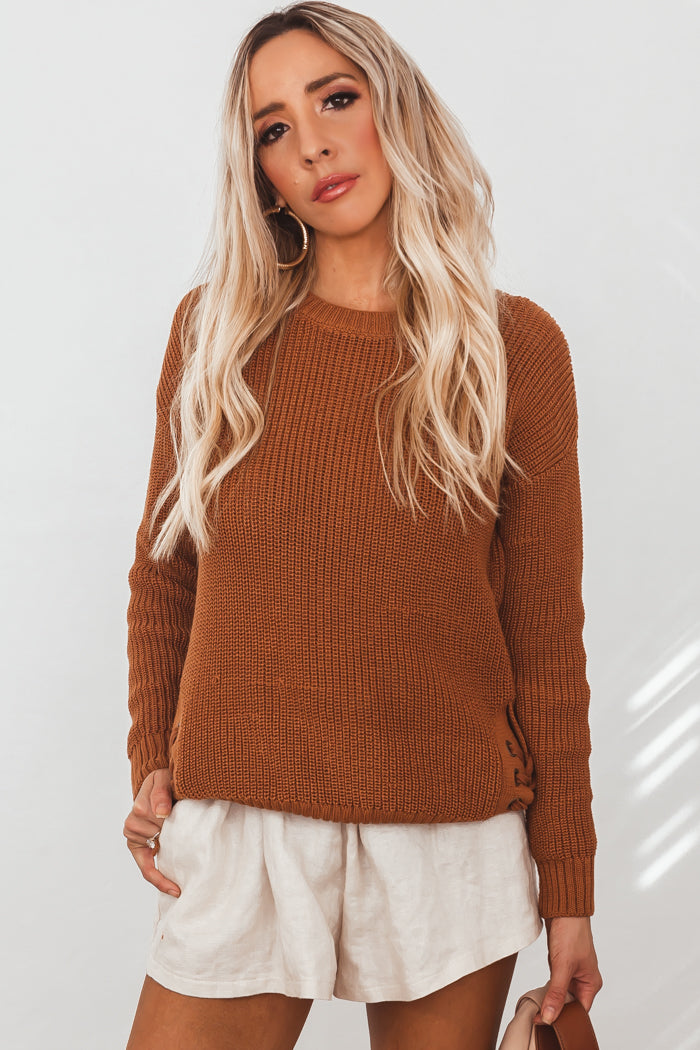 Knit Sweater With Side Lace-Up Detail