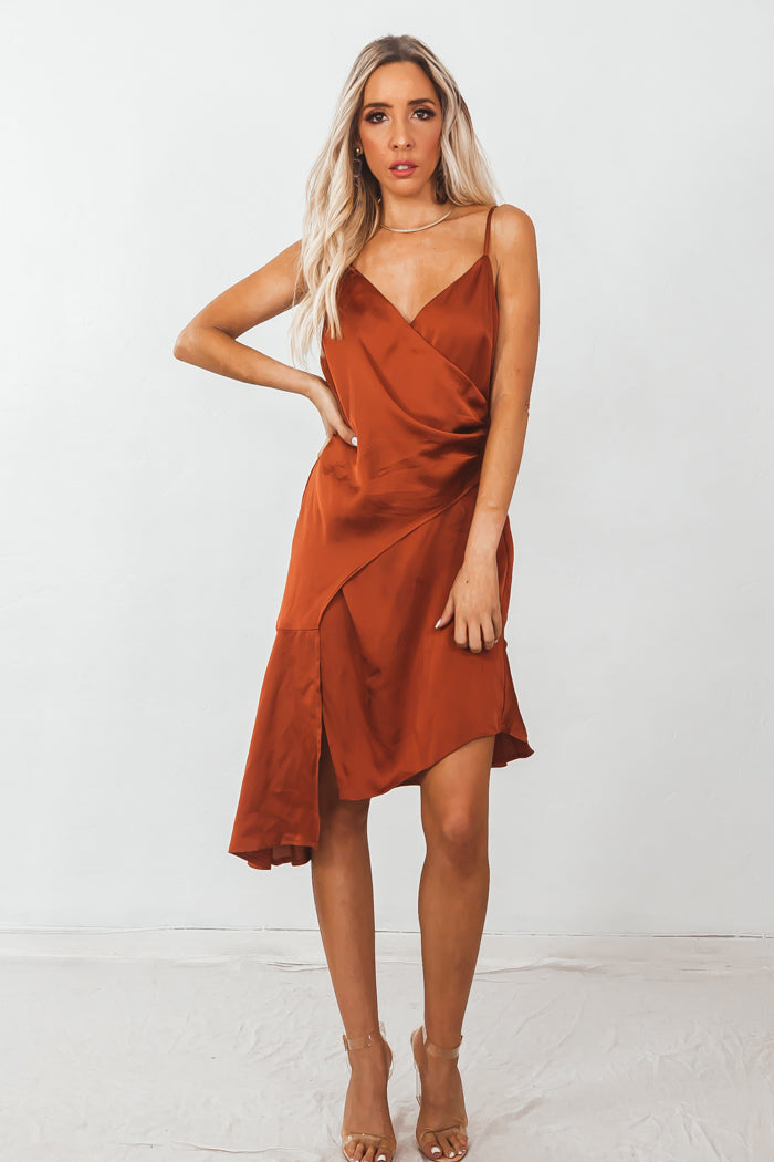 Satin Asymmetric Wrap Dress