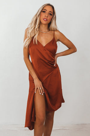 Satin Asymmetric Wrap Dress /// Only 1-M Left ///
