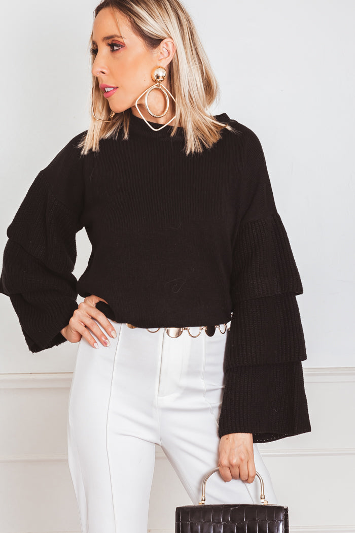 Ruffle Tiered Sleeve Sweater